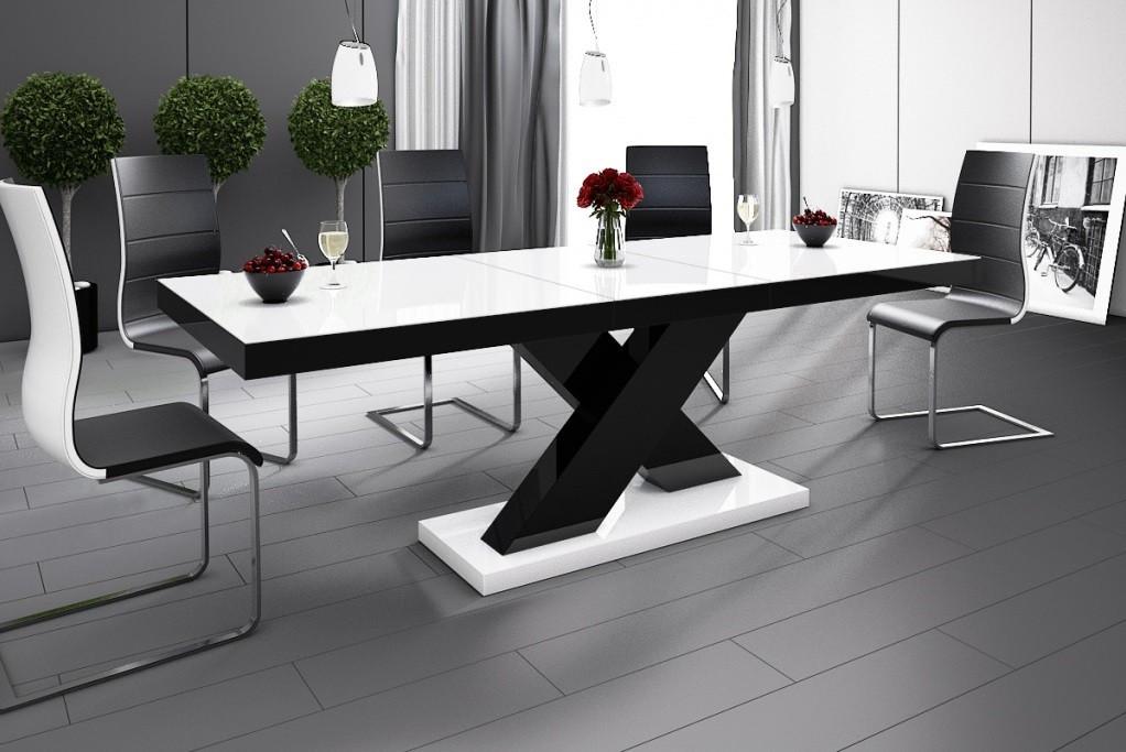 Esstisch Design  Design Esstisch HE 888 Weiß Schwarz Hochglanz ausziehbar