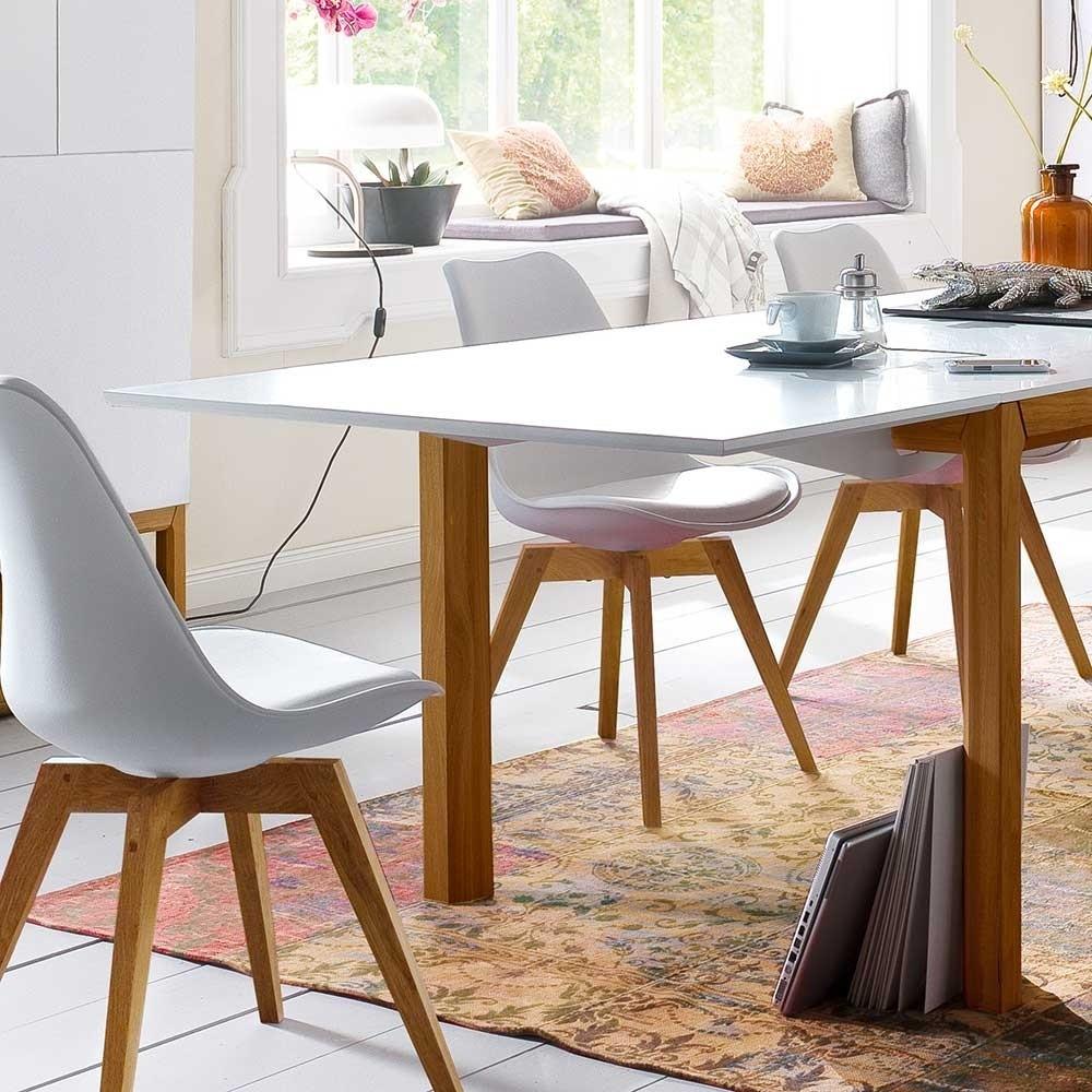 Esstisch Design  Design Esstisch Dadoncas in Weiß Eiche mit Ansteckplatten