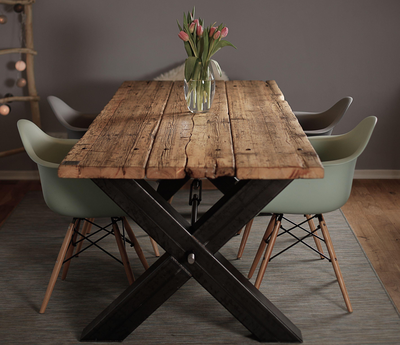 Esstisch Design  Esstisch aus Gerüstbohlen Massivholz Industrial Design
