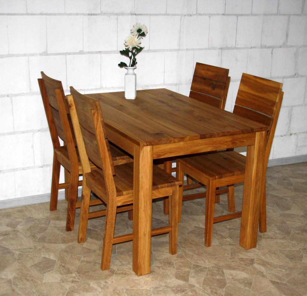 Esstisch Eiche Massiv  Esstisch 120x80 Wildeiche massiv Esszimmertisch Holz Eiche
