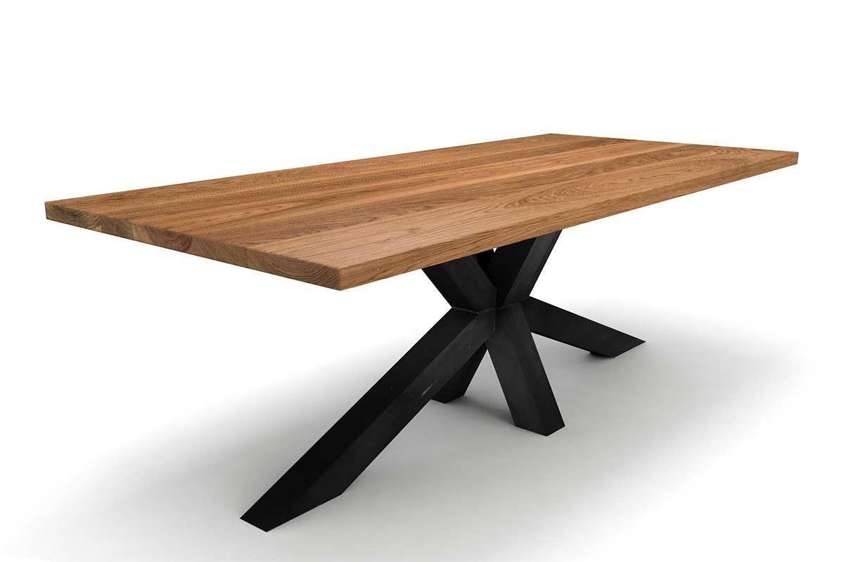 Esstisch Eiche Massiv  Mittelfuß Esstisch Holz massiv Eiche 4cm [HOLZPILOTEN]