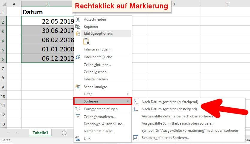 Excel Tabelle Sortieren  Excel Tabelle nach Datum sortieren – so geht's