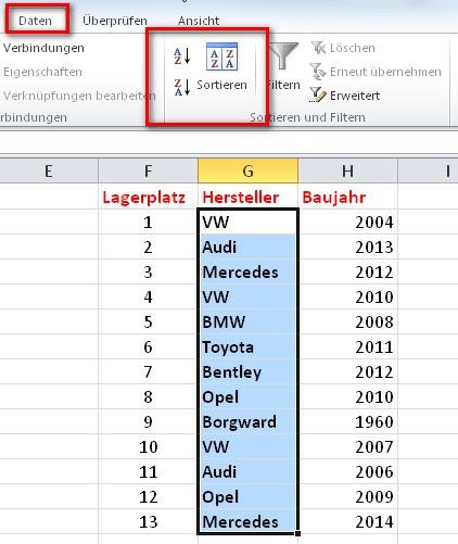 Excel Tabelle Sortieren  Daten in Excel sortieren und Tabellen ordnen – So geht's