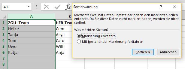 Excel Tabelle Sortieren  Excel Tabellen Listen gezielt nach Spalten sortieren