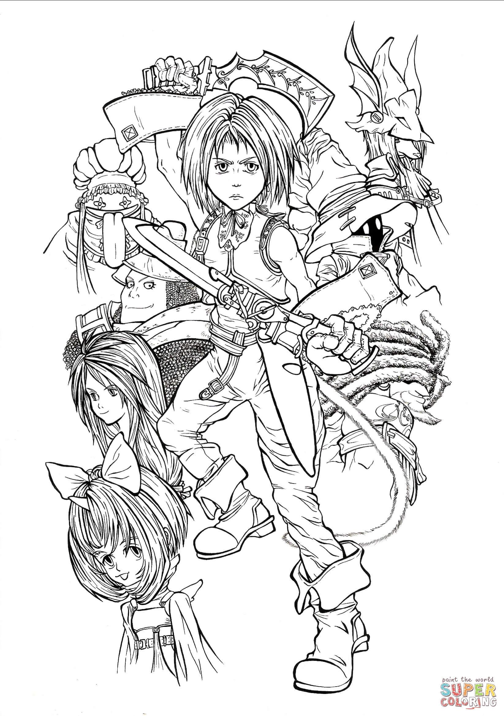 Fantasy Ausmalbilder  Ausmalbild Vollzeit spielbare Charaktere aus Final