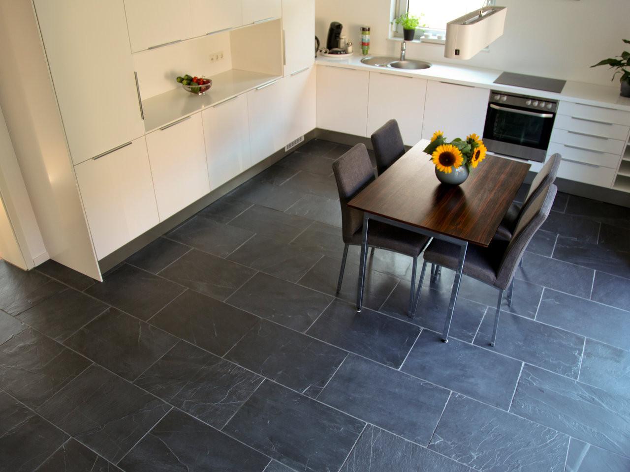 Fliesen Küche  Kundenfoto Schiefer Fliesen Black Rustic in der Küche