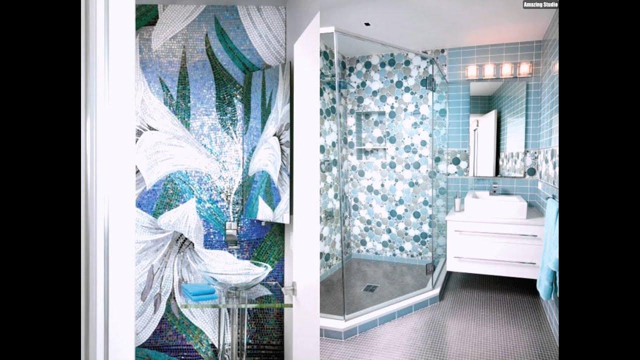 Fliesen Mosaik  Mosaik Fliesen Badezimmer Kreise Hellblau Blumen Modern