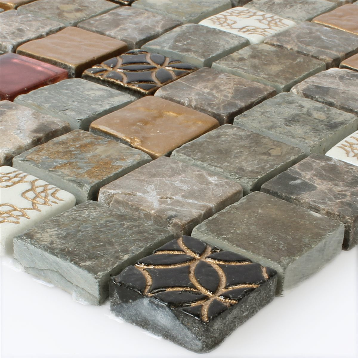 Fliesen Mosaik  Glas Naturstein Mosaik Fliesen Mix 23x23x8mm HT m