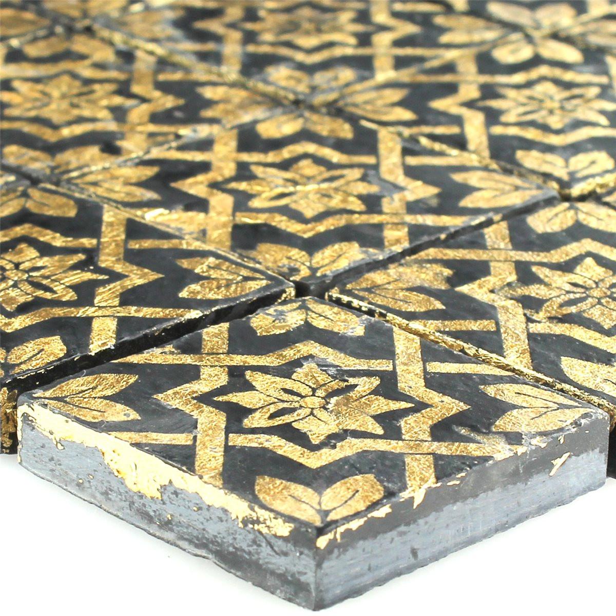Fliesen Mosaik  Schiefer Mosaik Fliese Blattgold Schwarz LZ m