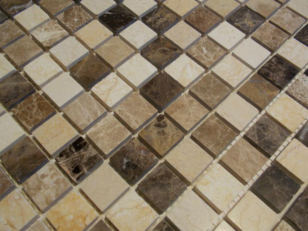 Fliesen Mosaik  Naturstein Marmor Mosaik Fliesen beige braun emperador