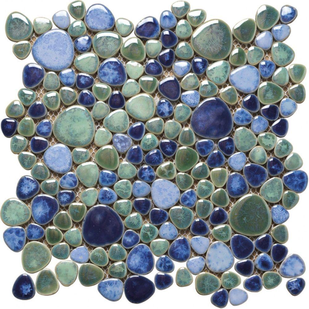 Fliesen Mosaik  Keramik Mosaik Fliesen Kiesel Optik Silex Azzuro