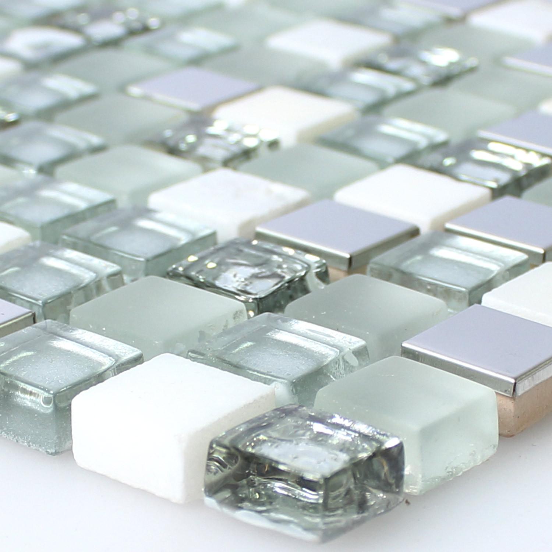 Fliesen Mosaik  Glas Edelstahl Naturstein Mosaik Fliesen Weiss Silber