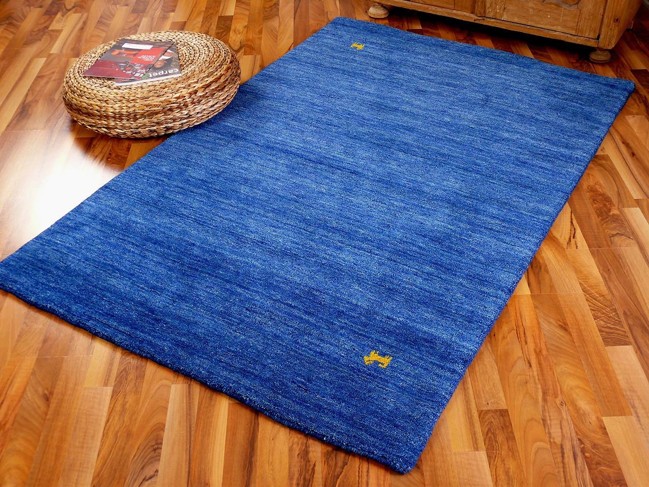 Gabbeh Teppich  Indo Gabbeh Teppich Shiva Blau Uni Teppiche Nepal Gabbeh