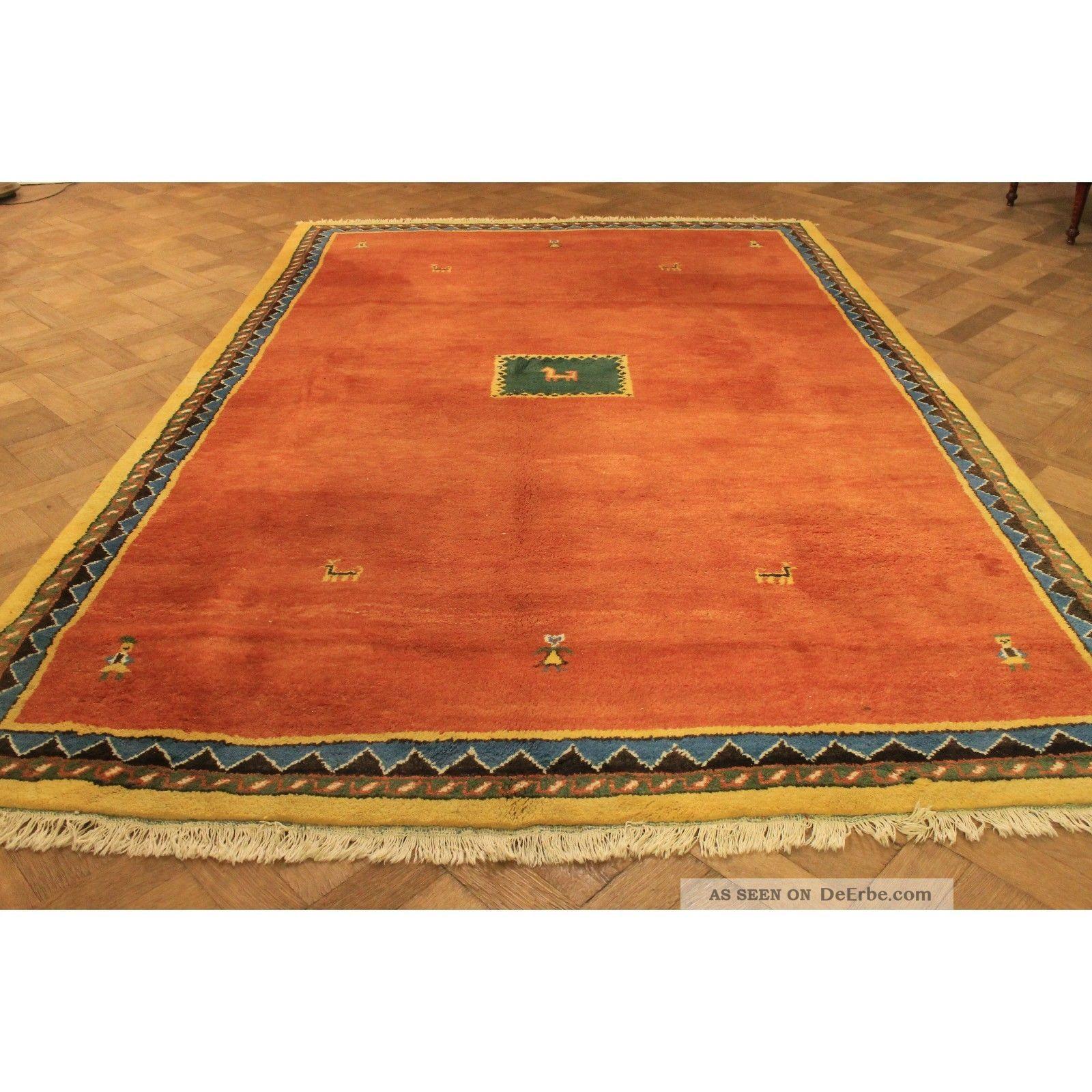 Gabbeh Teppich  Wunderschöner Handgeknüpfter Perser Teppich Gabbeh Gelb