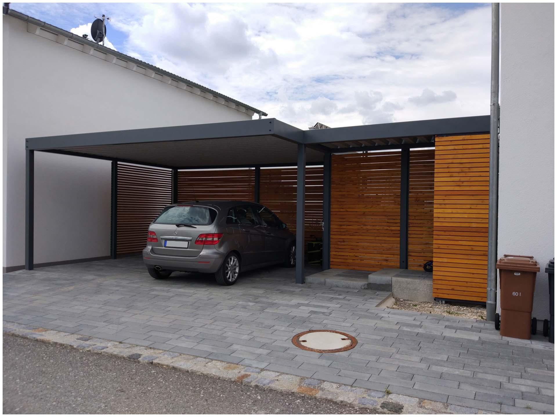 Garage Blech  Garage Blech Design Metall Carport Mit Vordach Aus