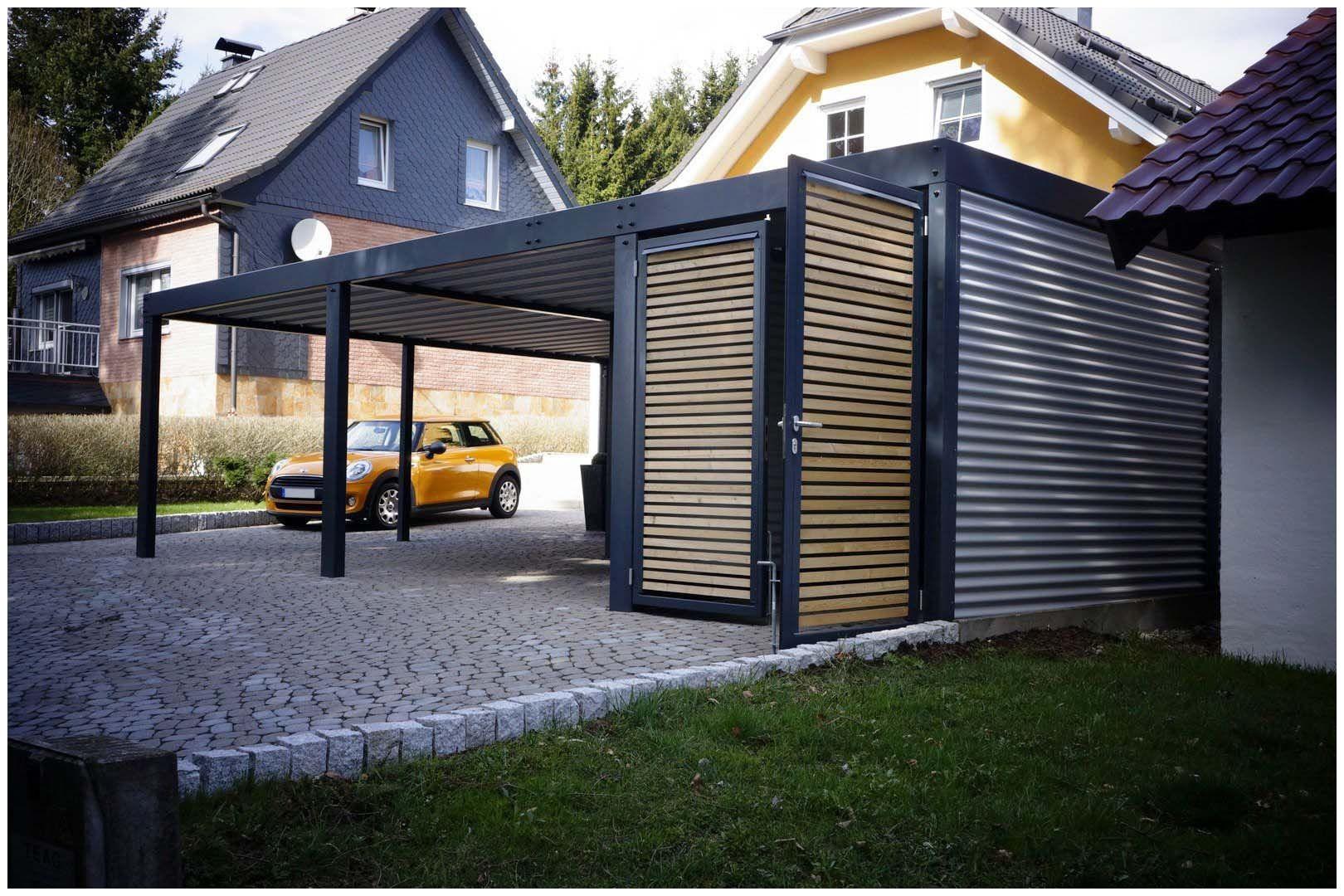 """Garage Blech  Garage Blech Carport Mit fener """"wpc"""" Lattung Und"""
