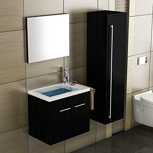 Gäste Wc Waschtisch  Waschbecken mit Unterschrank Schwarz Badmöbel