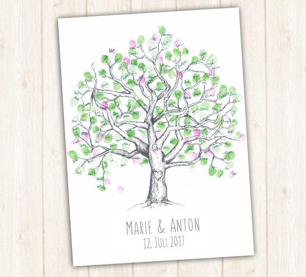 Gästebuch Hochzeit Baum  Gastgeschenke Wedding Tree Hochzeit Gästebuch gezeichnet