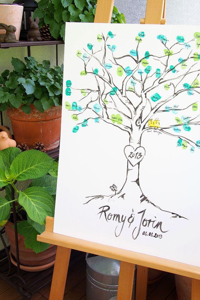 Gästebuch Hochzeit Baum  Hochzeits DIY Ein Baum aus Fingerabdrücken