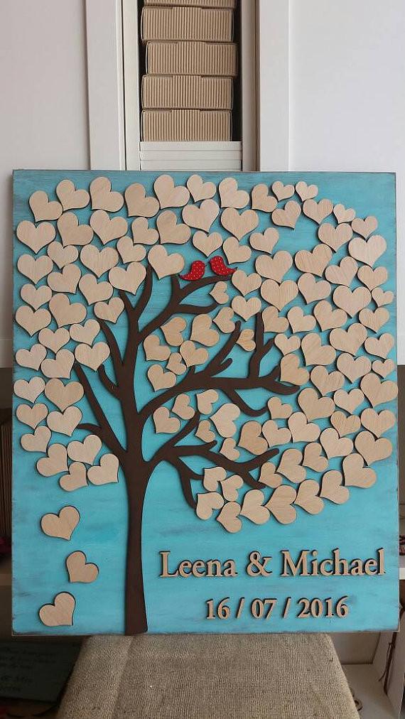 Gästebuch Hochzeit Baum  Holz Baum Herzen Gästebuch Holz Hochzeit Gästebuch Melden