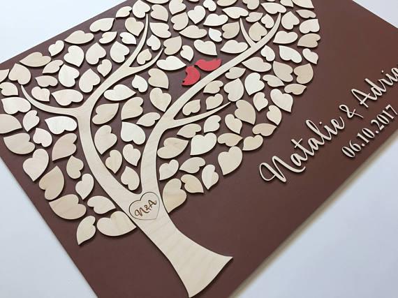 Gästebuch Hochzeit Baum  Hochzeit Gästebuch 3d Baum der Herzen Holz Gästebuch