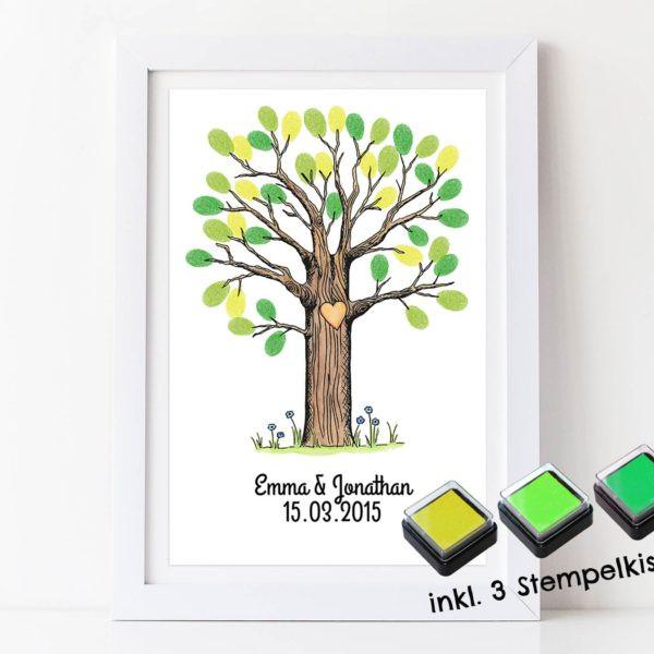 Gästebuch Hochzeit Baum  Fingerabdruck Gästebuch Baum für deine Hochzeit
