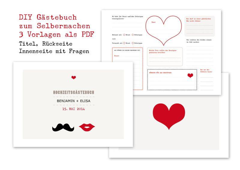Gästebuch Hochzeit Gestalten Vorlagen  DIY Gästebuch Hochzeit mit 3 PDF Vorlagen