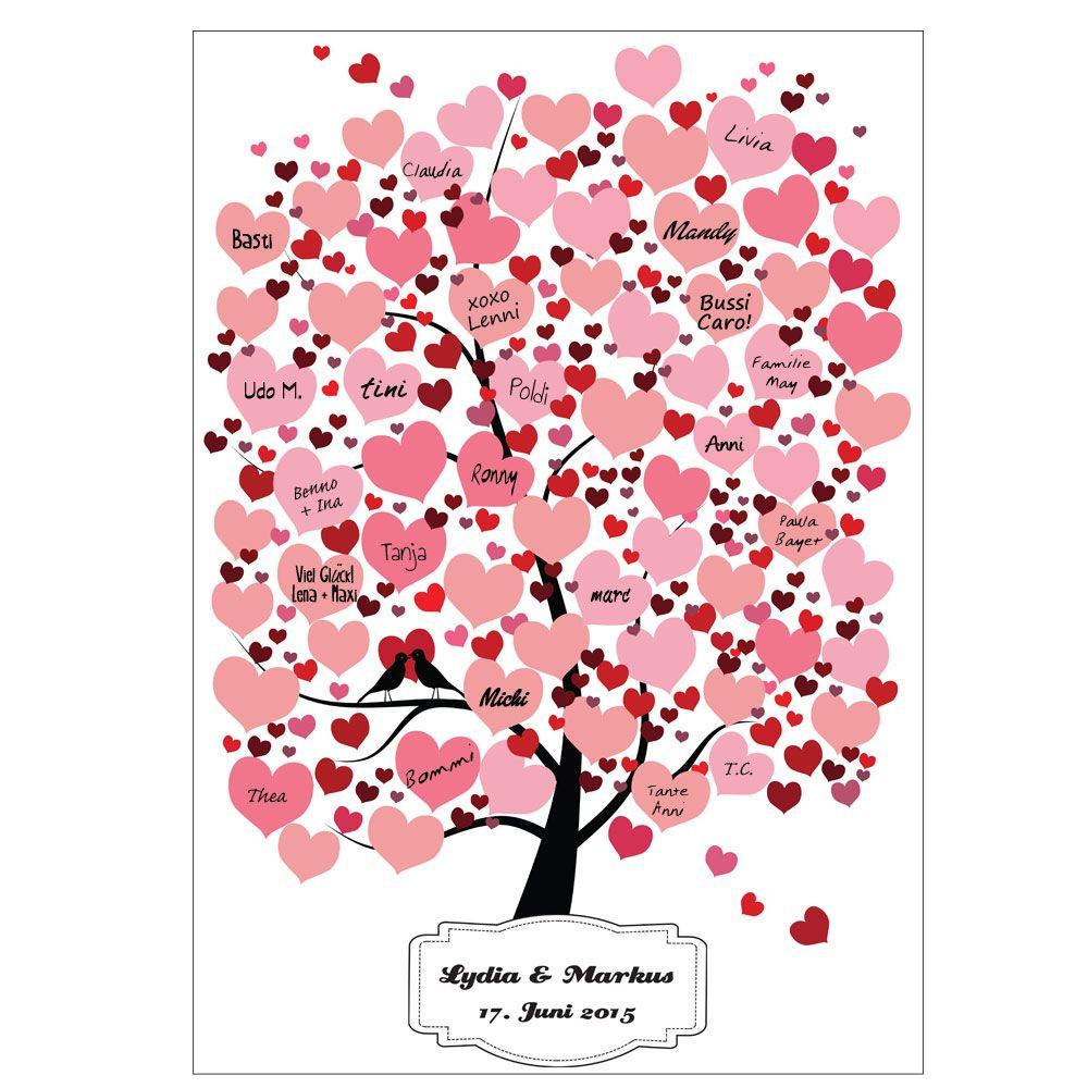 Gästebuch Hochzeit Herzen  Gästebuch Baum mit Herzen Hochzeit Gästebaum