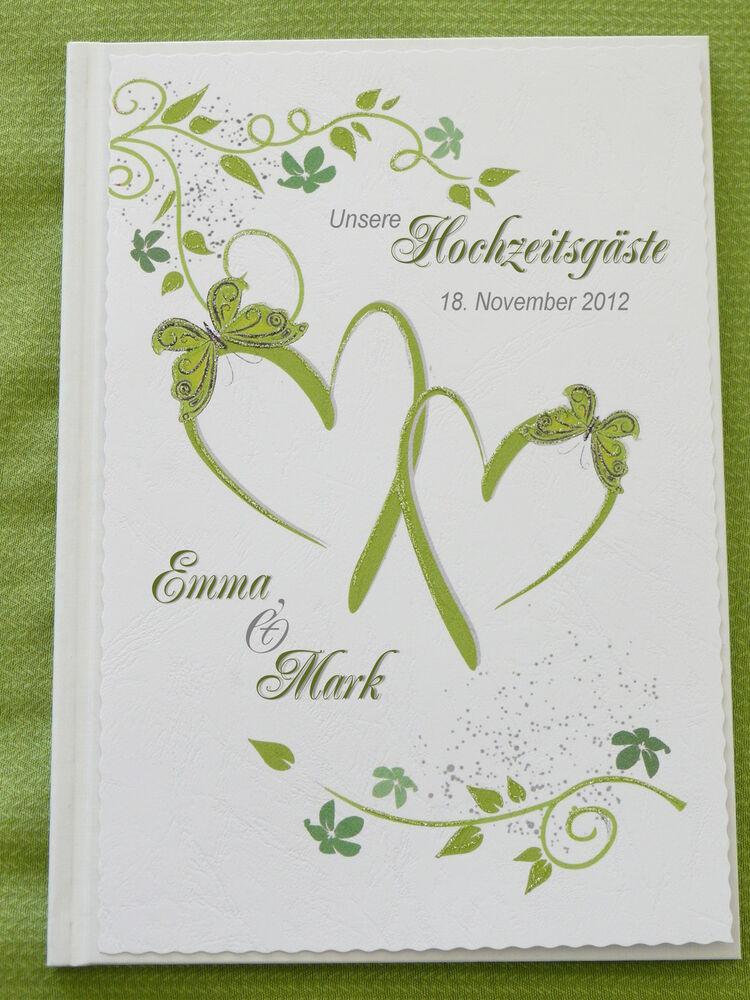 Gästebuch Hochzeit Herzen  Gästebuch Hochzeit Herzen grün weiß Hochzeitsgeschenk