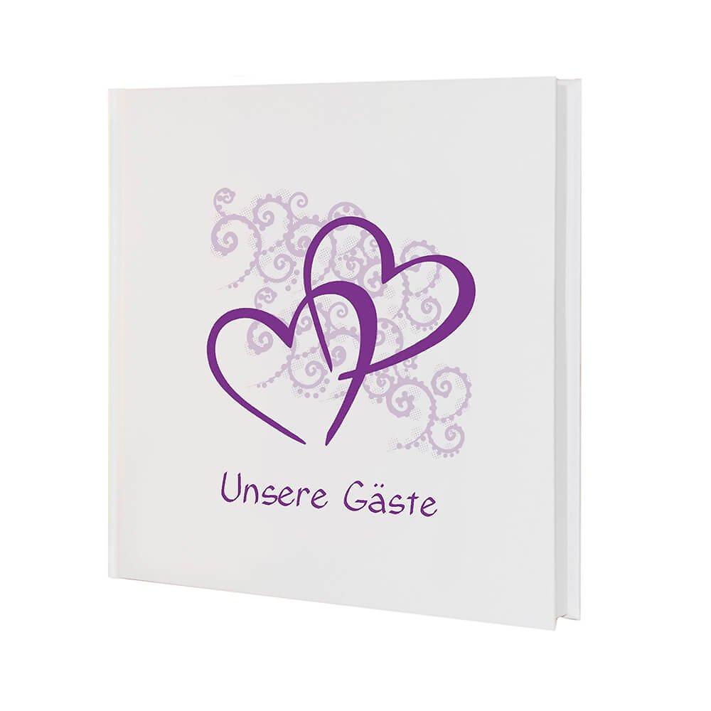 """Gästebuch Hochzeit Herzen  Gästebuch """"Herzen"""" zur Hochzeit lila Herzenmotive"""
