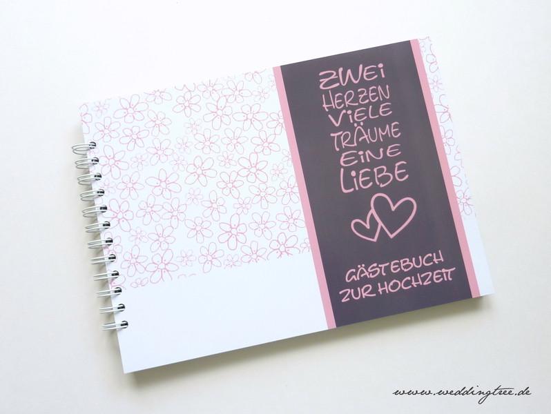 Gästebuch Hochzeit Herzen  Gästebuch zur Hochzeit Ringbuch 2 Herzen Weddingtree der