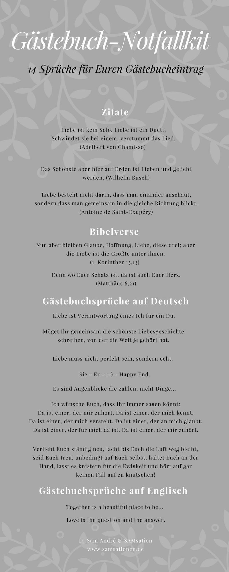 Gästebuch Sprüche Hochzeit  Gästebuch Notfallkit
