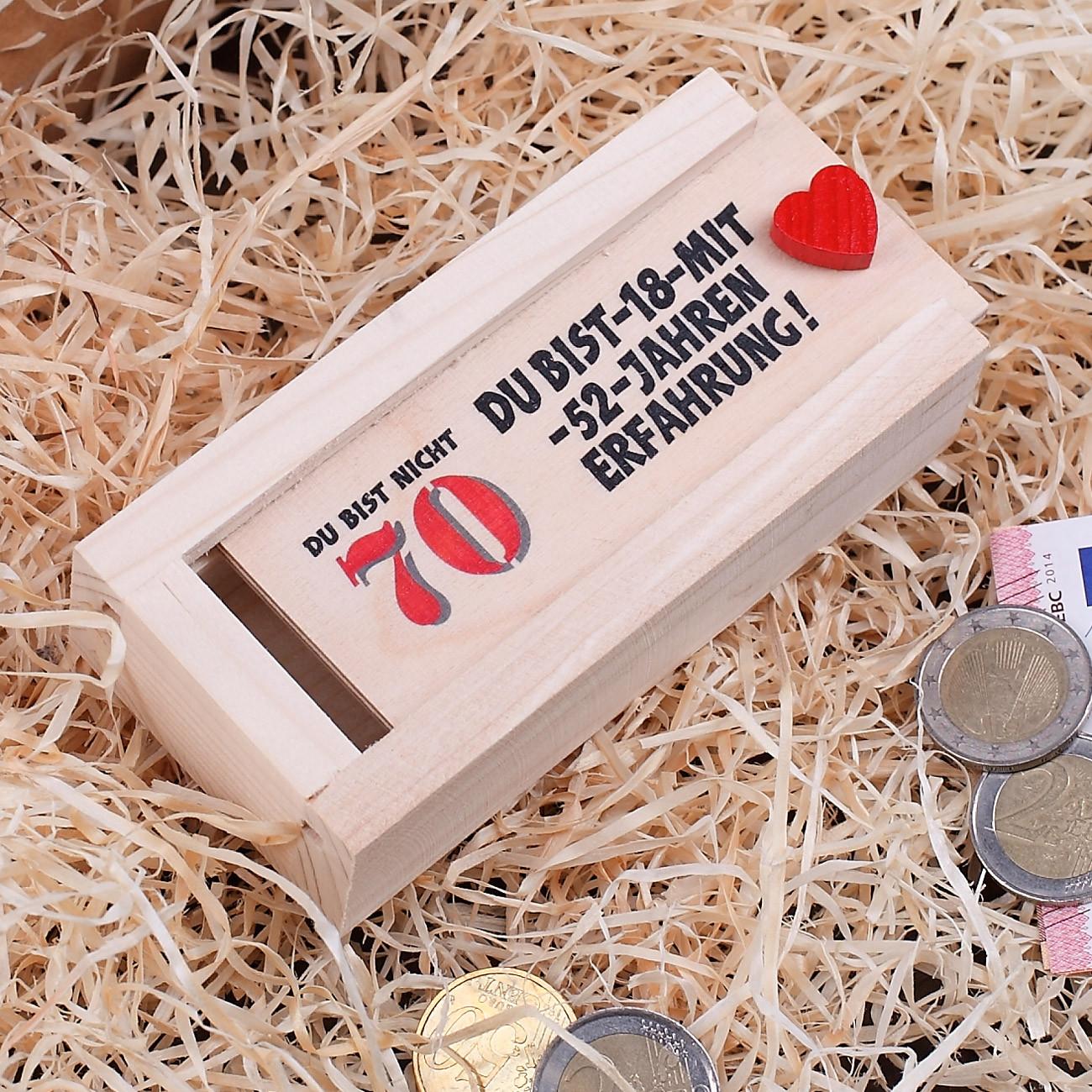 Geburtstag Geschenke Frau  Holzkiste als Geldgeschenk zum 70 Geburtstag