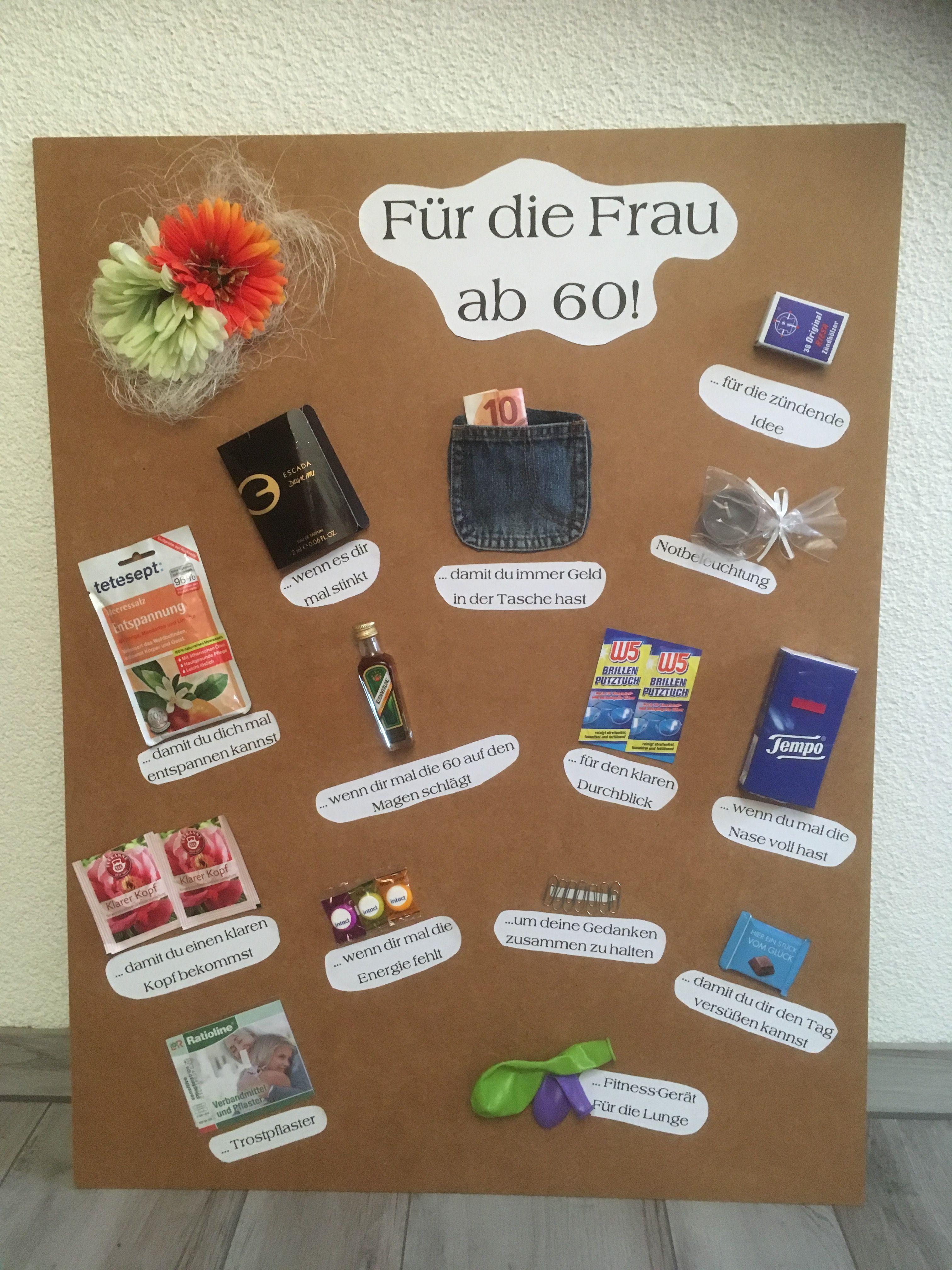 Geburtstag Geschenke Frau  Geschenktafel zum 60 Geburtstag spass 60er