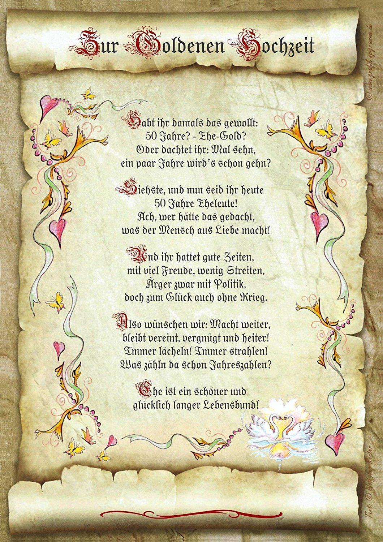 Gedicht Goldene Hochzeit Loriot  Geschenk Goldene Hochzeit Urkunde Gedicht Präsent Jubiläum