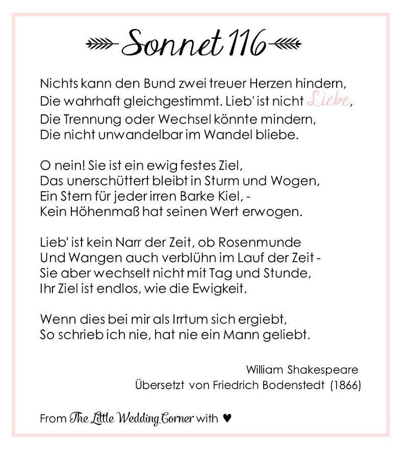 Gedicht Hochzeit  Gedicht zur Hochzeit Shakespeares Sonnet 116