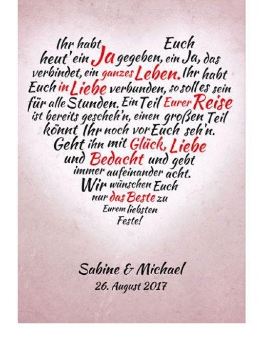 Gedicht Hochzeit  Liebevolles Herz aus Worten personalisiertes Bild zur