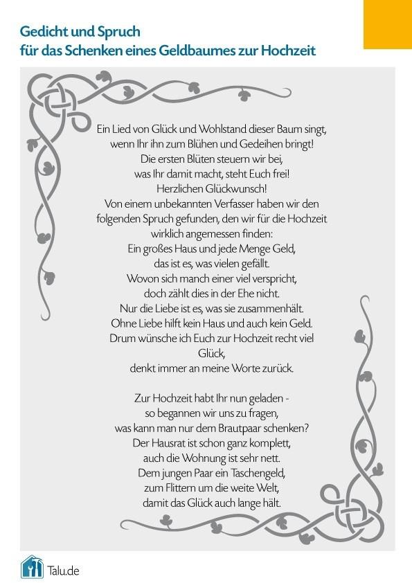Gedicht Hochzeit  Geldbaum zur Hochzeit Bastelanleitung & Gedicht Talu