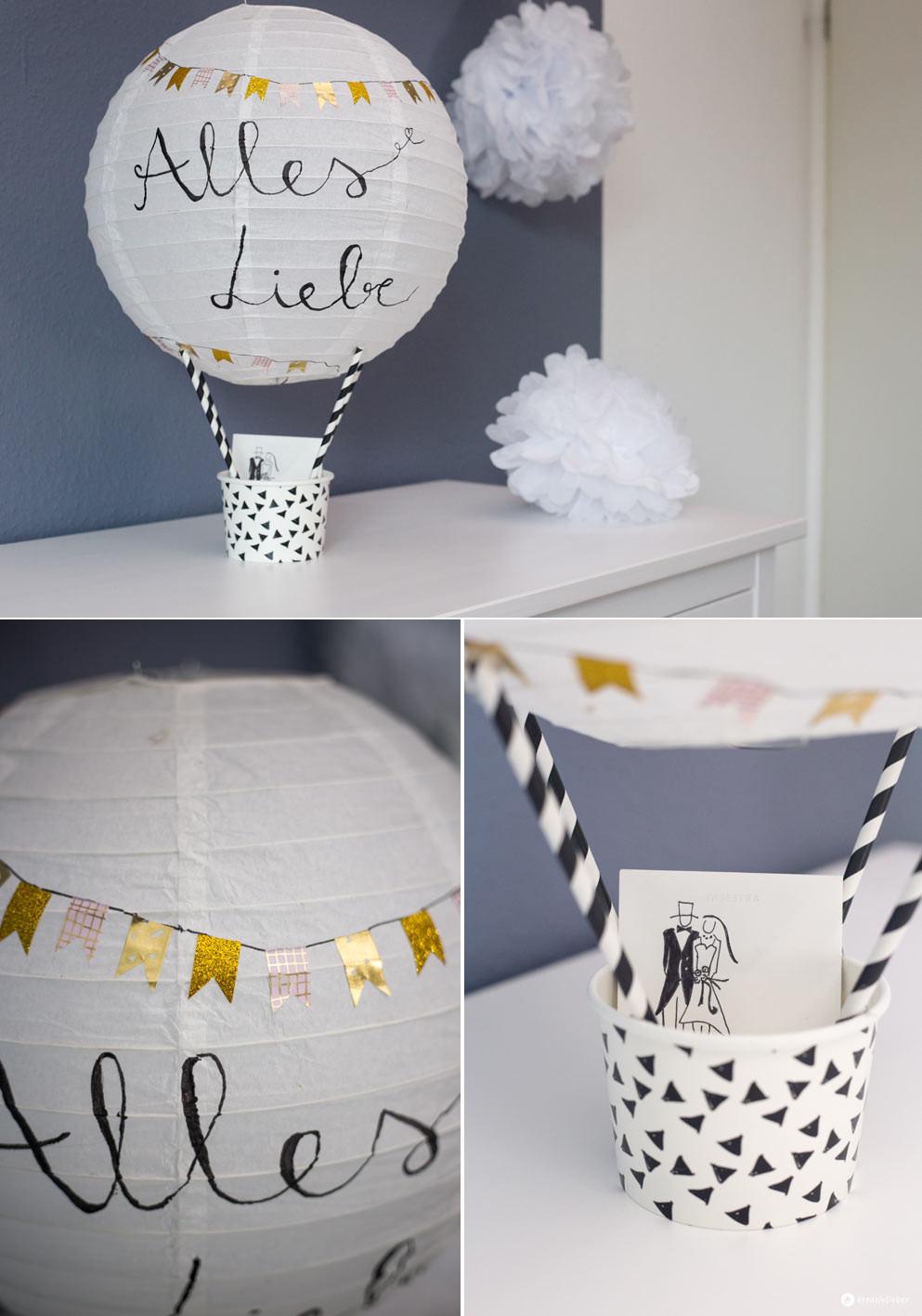Geldgeschenk Hochzeit  DIY Geschenkidee zur Hochzeit Heißluftballon