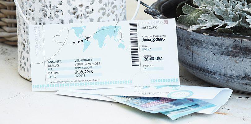 Geldgeschenk Hochzeit Reise  Geldgeschenk zur Hochzeit Kostenlose Vorlage zum Ausdrucken