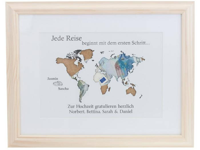 Geldgeschenk Hochzeit Weltkarte  Geldgeschenk Weltkarte