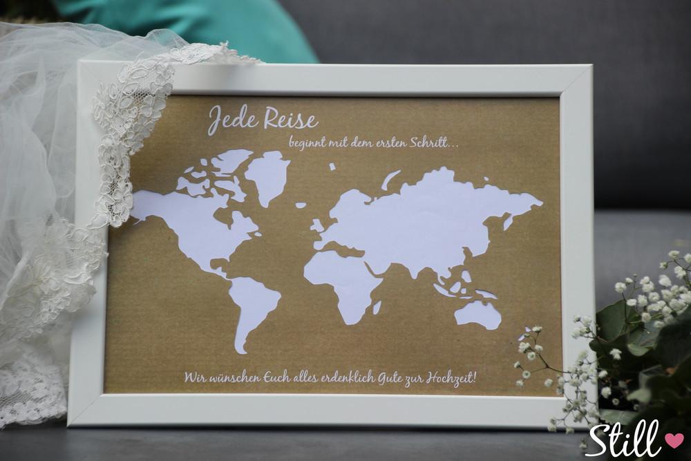 Geldgeschenk Hochzeit Weltkarte  Geldgeschenke Geldgeschenk Weltkarte Vintage Rahmen