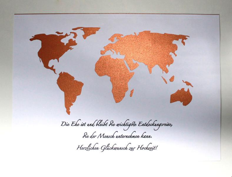 Geldgeschenk Hochzeit Weltkarte  Geldgeschenke WUNSCHTEXT Geldgeschenk Hochzeit Weltkarte