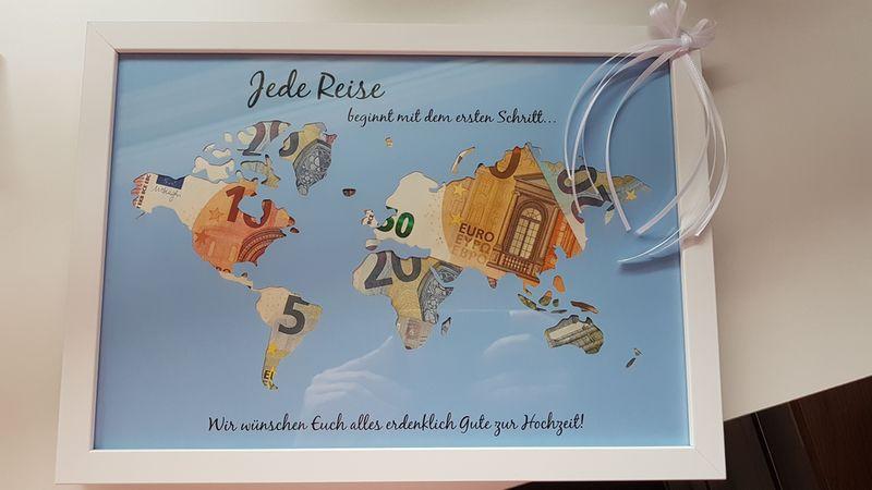 Geldgeschenk Hochzeit Weltkarte  Geldgeschenke Geldgeschenk Weltkarte mit Rahmen