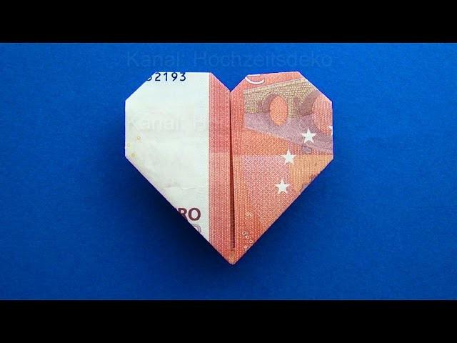 Geldscheine Falten Hochzeit Herz  Geldschein falten Herz Herz falten mit Geld zum
