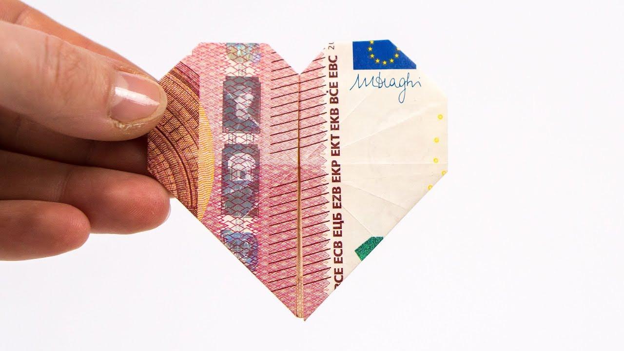 Geldscheine Falten Hochzeit Herz  Geldscheine Falten Herz Youtube