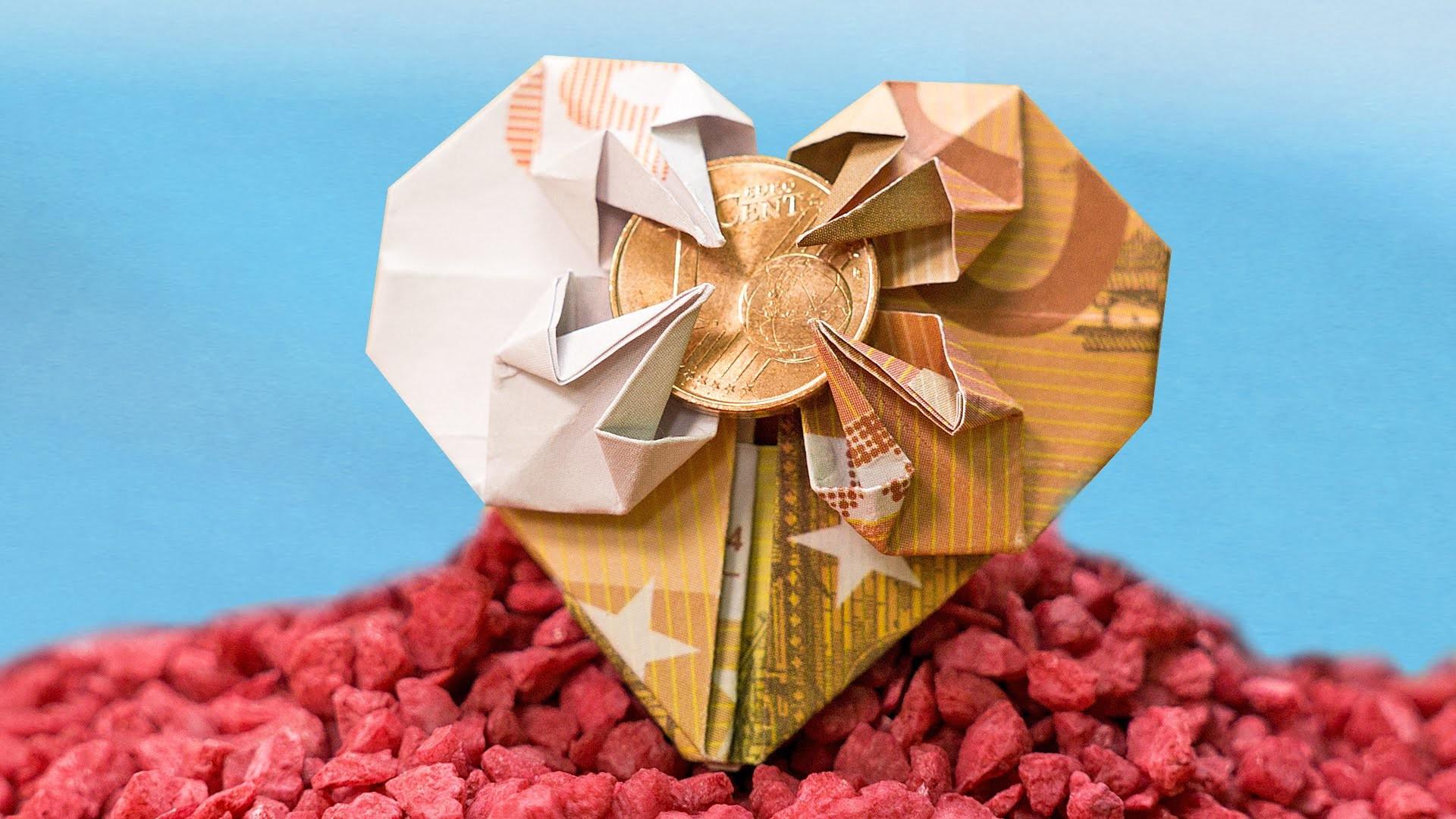 Geldscheine Falten Hochzeit Herz  Geschenkidee zur Hochzeit Geldschein zu einem Herz falten