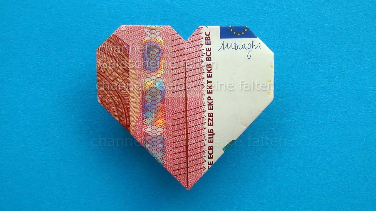 Geldscheine Falten Hochzeit Herz  Geldscheine falten Herz Leichte Origami Herz aus Geld