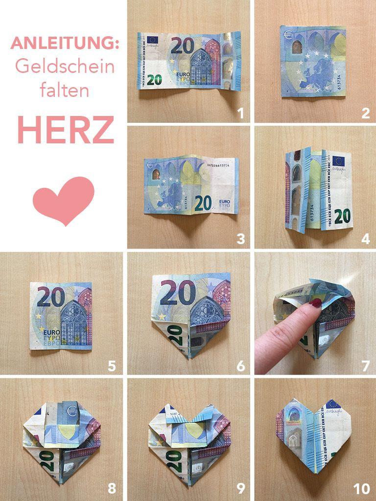 Geldscheine Falten Hochzeit Herz  Tutorial Anleitung Geld falten Herzen – DIY