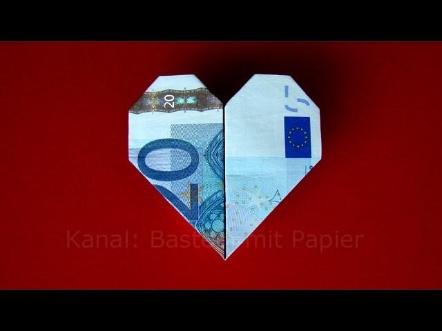 Geldscheine Falten Hochzeit Herz  Geldschein falten Herz Geldgeschenke basteln Hochzeit
